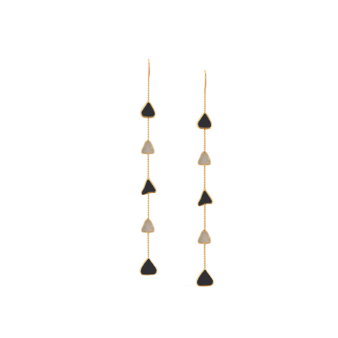 Organic Black & White Diamond Slice Earrings In 18K Yellow Gold