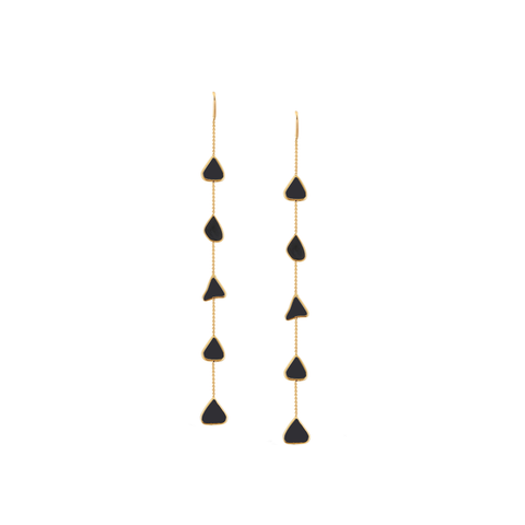 Organic Black Diamond Slice Earrings In 18K Yellow Gold