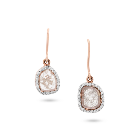 Organic Diamond Slice with Diamond Pave Earrings In 18K Yellow Gold