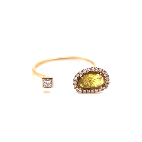 Organic Yellow Diamond with Pave Diamond Ring in 18k Rose Gold