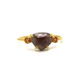 Organic Diamond And Gemstone Ring In 18K Yellow Gold