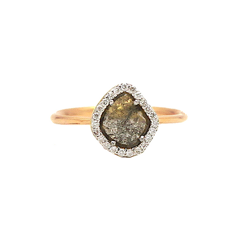 Organic Diamond Slice with Pave Diamond Ring in 18k Rose Gold