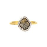 Organic Diamond Slice with Pave Diamond Ring in 18k Yellow Gold