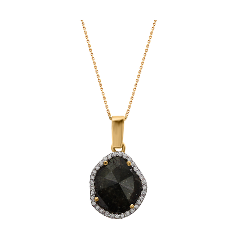 Black Diamond Slice with Diamond Pave Accent Pendant in 18k Yellow Gold