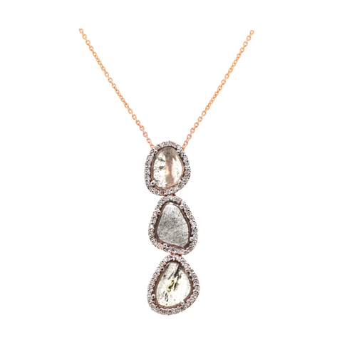 Organic Diamond Slice with Pave Diamond Pendant in 18k Rose Gold