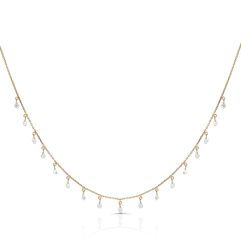 Organic Diamond Baroque Necklace in 18k Rose Gold