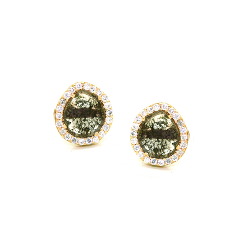 Organic Diamond Slice with Diamond Pave Stud Earrings In 18K Yellow Gold