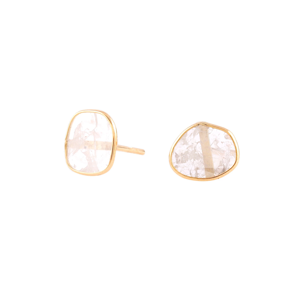 Diamond Slices Stud Earring in 18k Yellow Gold