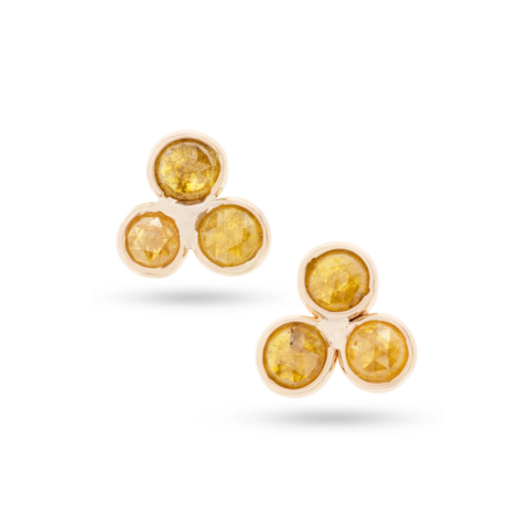 Organic Diamond triple stone Stud Earring in 18k Yellow Gold