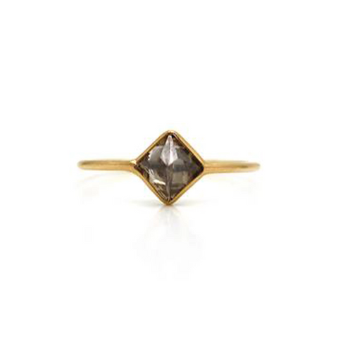 Diamond Squarae Cube Ring in 18k Yellow Gold