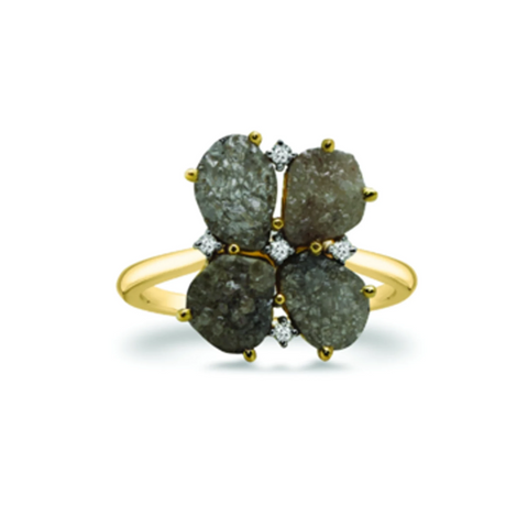 Four Leave Organic Black Diamond with Diamond Accent Ring in 18k Yellow Gold