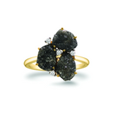 Organic Black Diamond with Diamond Accent Ring in 18k Yellow Gold