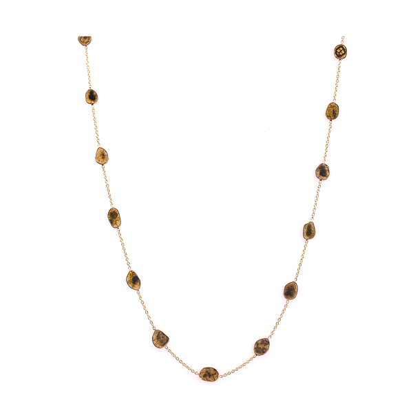 Diamond Slices Unshaped Necklace in 18k Yellow Gold