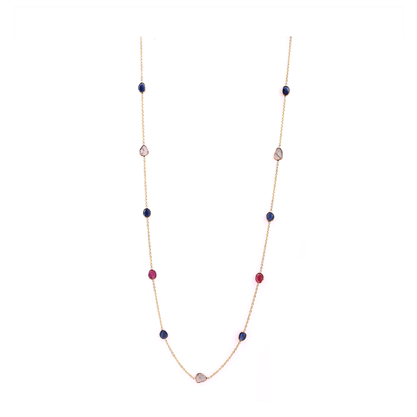Blue Sapphire, Ruby & Diamond Slices Necklace in 18k Yellow Gold
