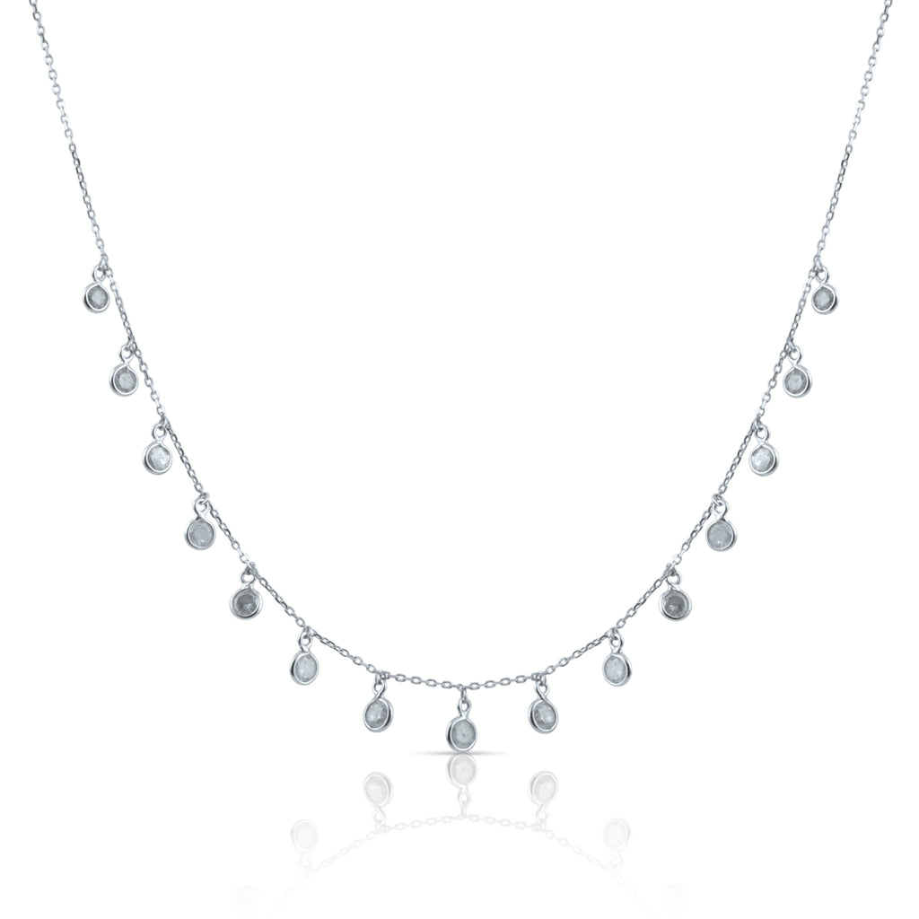 Organic Diamond Baroque Necklace in 18k White Gold