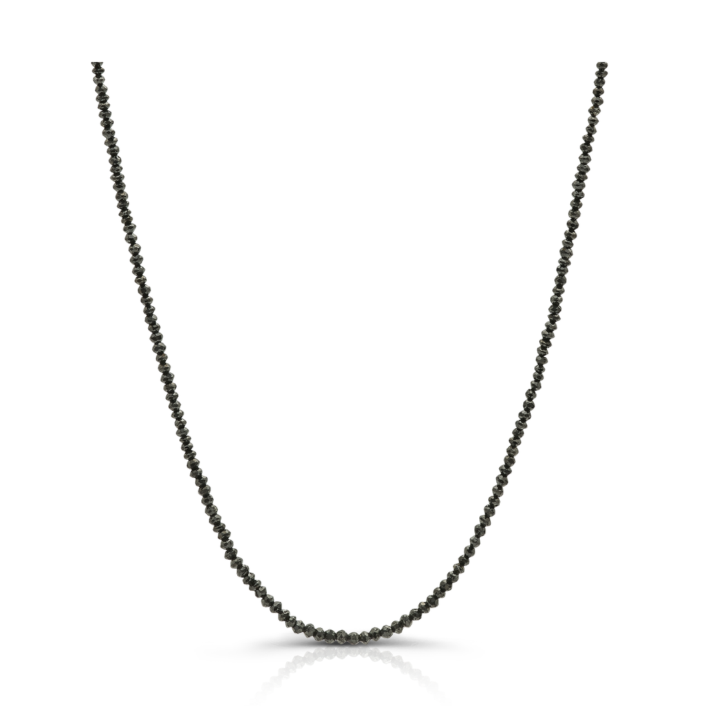 Black Diamond Bead Necklace in 18k Yellow Gold