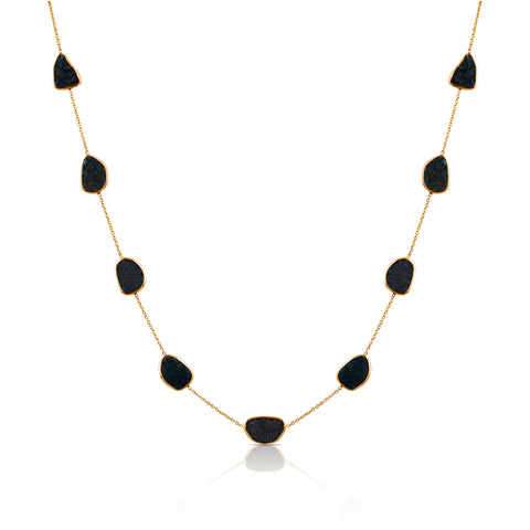 Black Diamonds Slice Necklace In 18K Gold