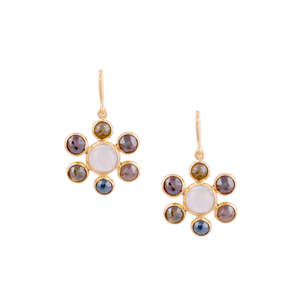 Rainbow Moonstone & Diamond Earring in 18k Yellow Gold