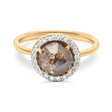 Organic Diamond Slice & Diamond Ring in 18k Yellow Gold