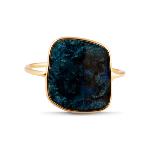 Black Diamond Slice Ring in 18k YG