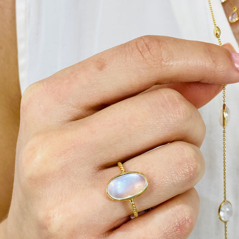 Rainbow Moonstone Ring in 18k Yellow Gold