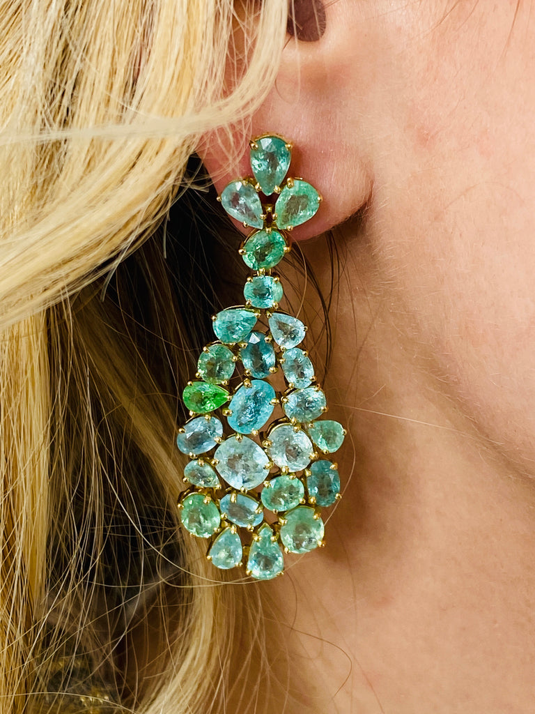 Paraiba Tourmaline Multishape Earrings in 18k YG