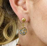 Gemstone Origami Sphere Ball  Earring in 18K Yellow Gold