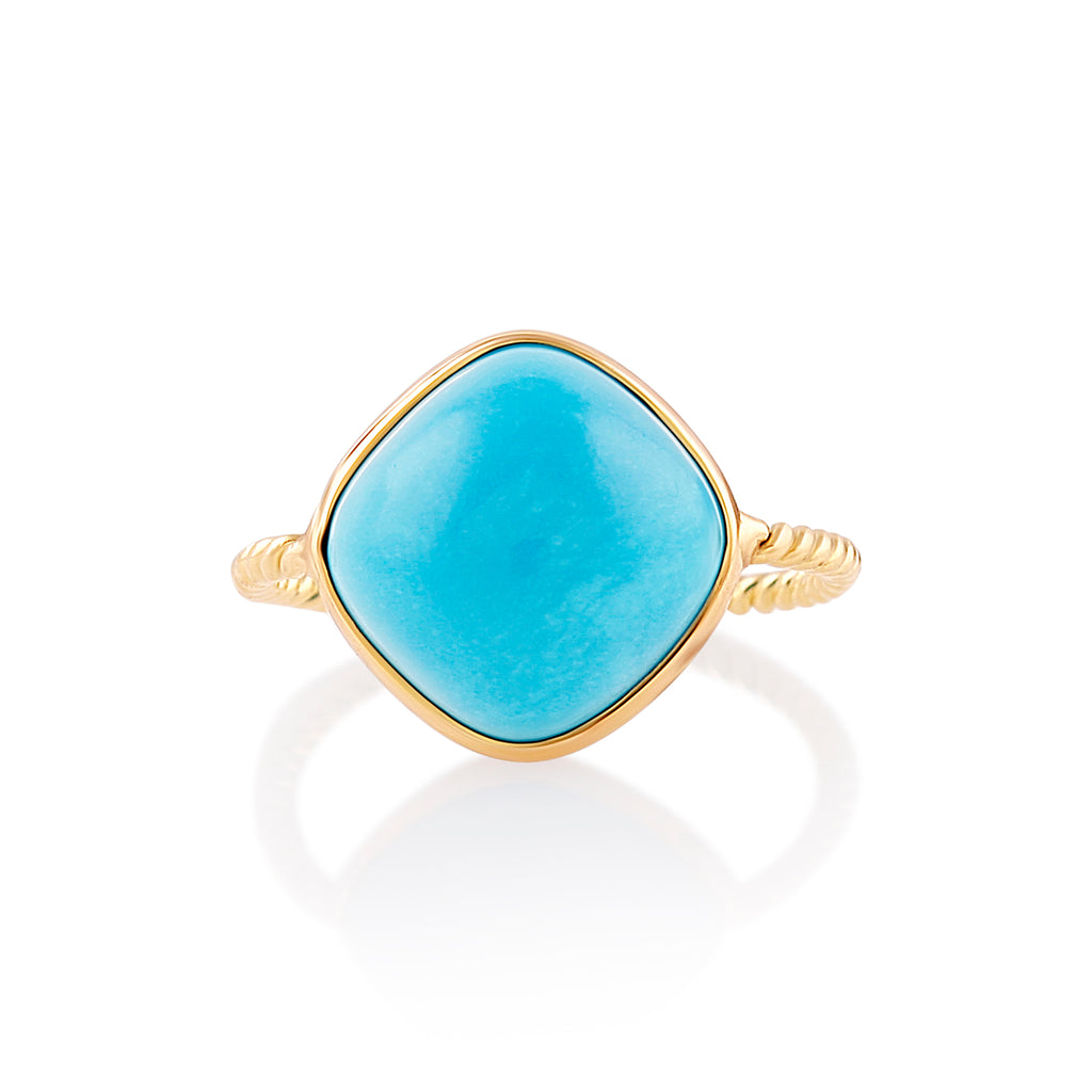 Turquoise Square Cushion Ring  in 18k Yellow Gold