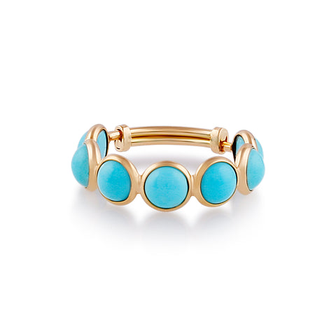 Gemstone Round Stackable Ring Bands With Adjustable Shank In 18k Gold