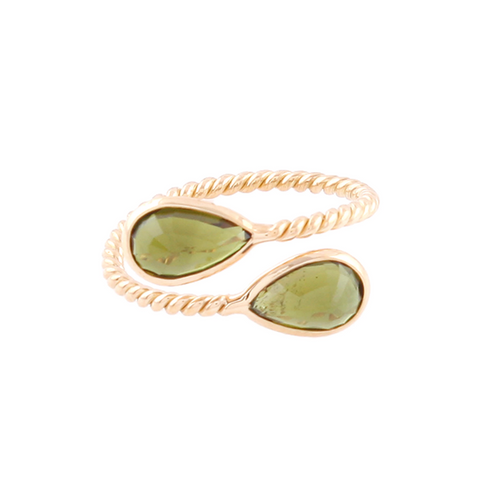 Green Tourmaline Pear Shaped Ring in 18k Yellow Gold