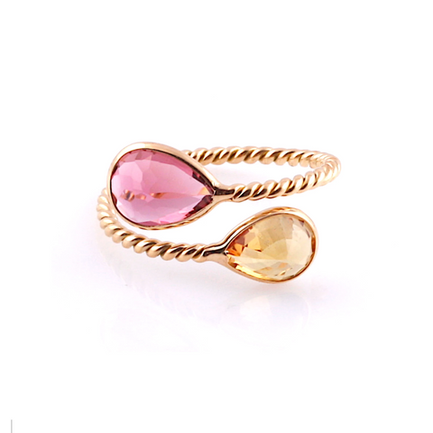 Gemstone Pear-Shaped Faceted Ring in 18K Yellow Gold