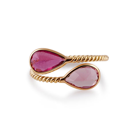 Pink Tourmaline Pear Shaped Ring in 18k Yellow Gold
