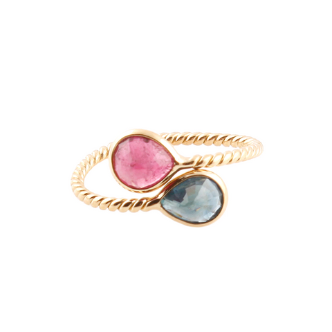 Pink Tourmaline and Spinel Pear Shaped Ring in 18k Yellow Gold