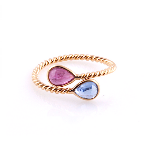 Blue Sapphire and Pink Tourmaline Pear-Shaped Faceted Ring in 18K Yellow Gold