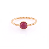 Ruby Round Rose-Cut Ring in 18K Yellow Gold