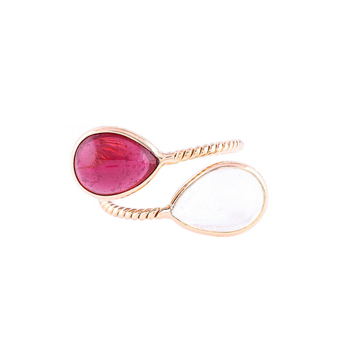 Pink Tourmaline and Rainbow Moonstone Pear Shaped Ring in 18k Yellow Gold