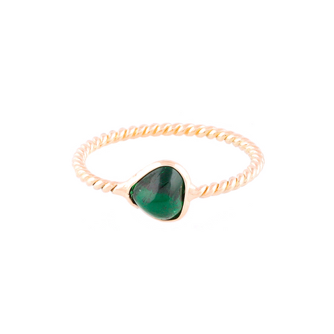 Tsavorite Heart Shaped Ring in 18k Yellow Gold