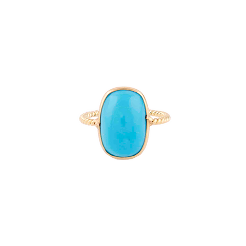 Turquoise Rectangular Cushion Ring  in 18k Yellow Gold
