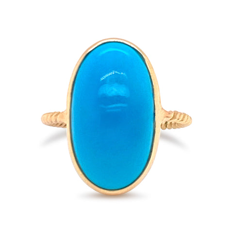 Turquoise Oval Cabochon Ring  in 18k Yellow Gold