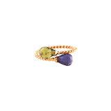 Peridot and Iolite Ring in 18k Yellow Gold
