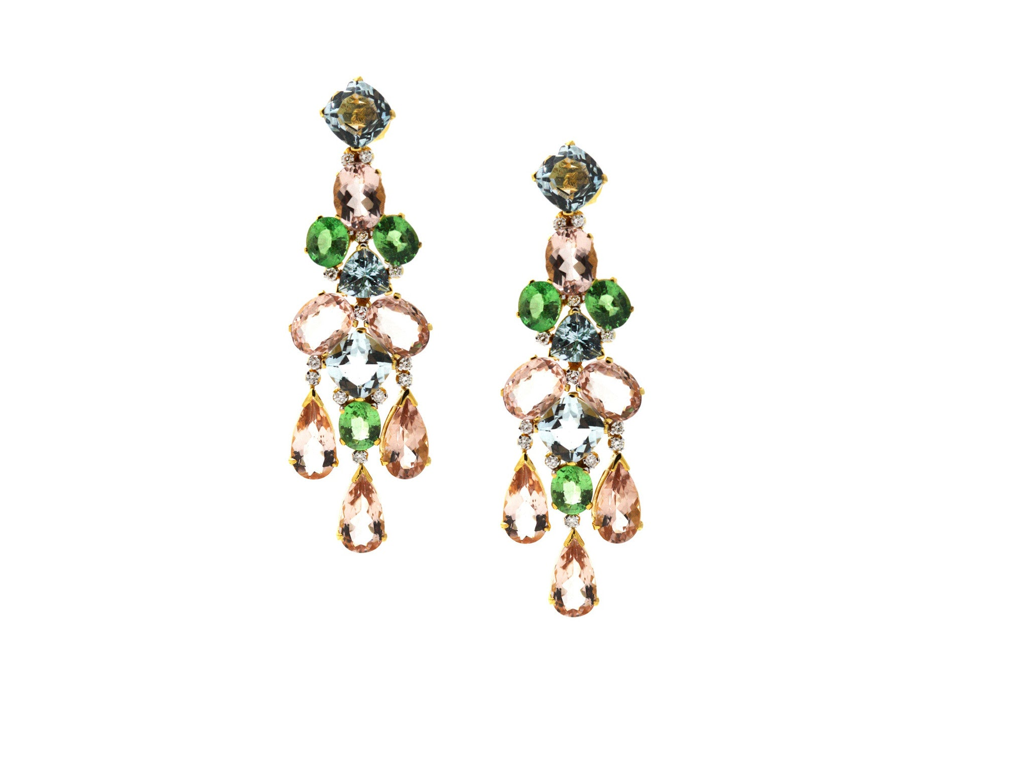 18K Yellow Gold, Multicolor Sapphire and Diamond Earrings