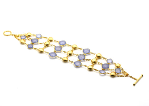 18k Yellow Gold Bracelet With Calcidony