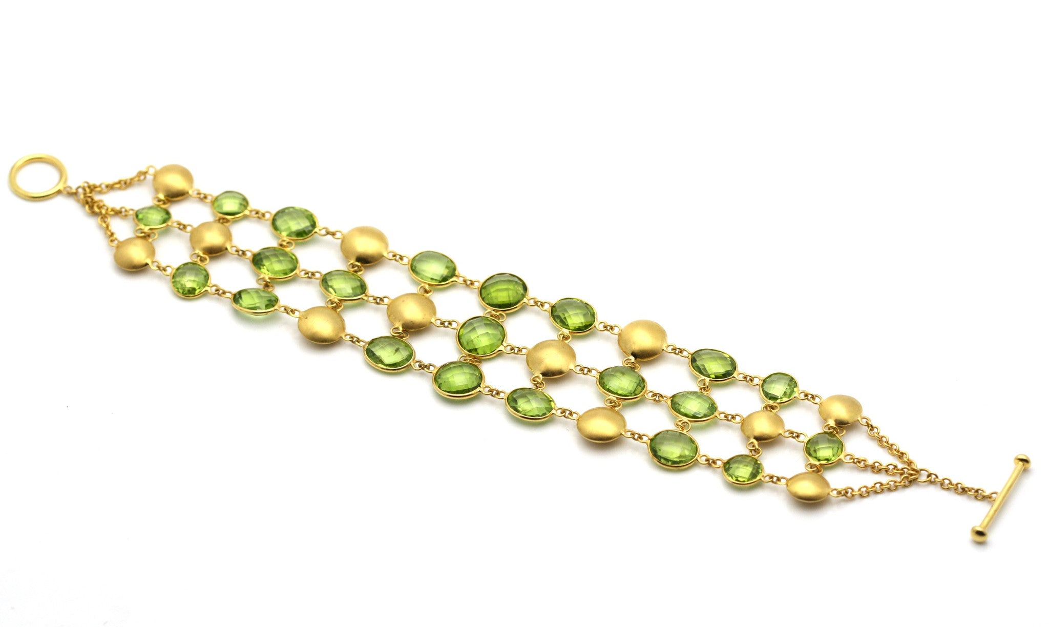 18k Yellow Gold Bracelet With Peridot
