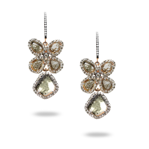 Organic Diamond Earring With White Diamond Pave Frame Set in 18k Rose Gold