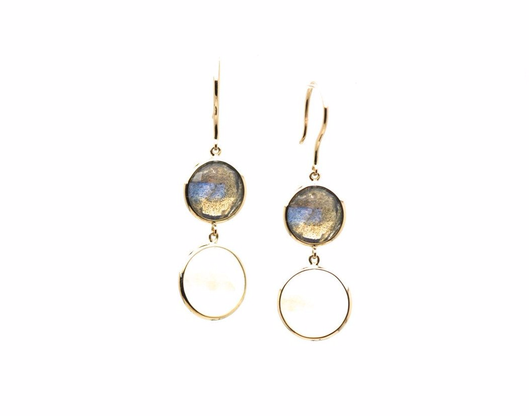 London Blue Topaz Round Faceted Simple Dangle Earrings In 18K Yellow Gold