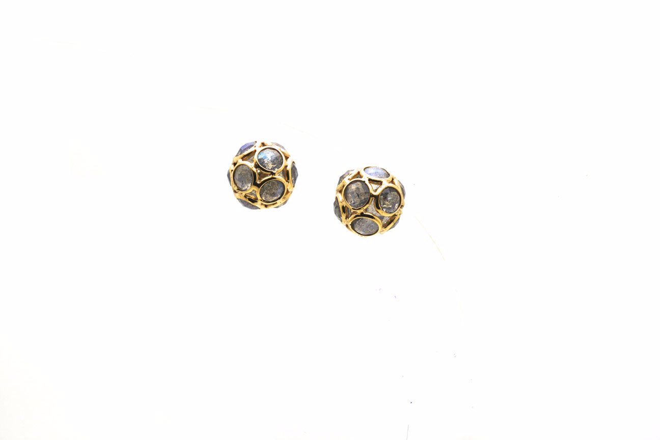 Labradorite Origami Sphere Ball Earrings in 18K Yellow Gold