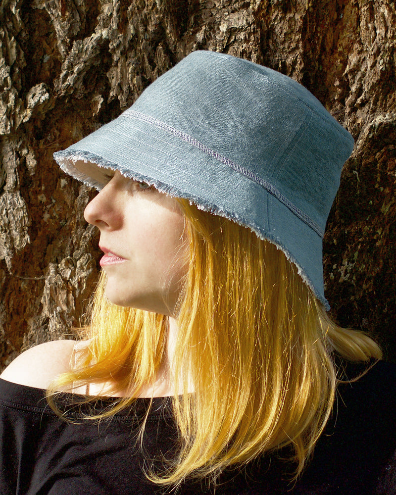 Linen Bucket Hat - Blue