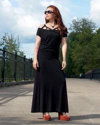 Caged Shoulder Long Dress - Black