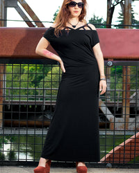 long black minimalist dress - front