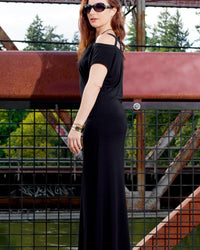 black maxi dress - side